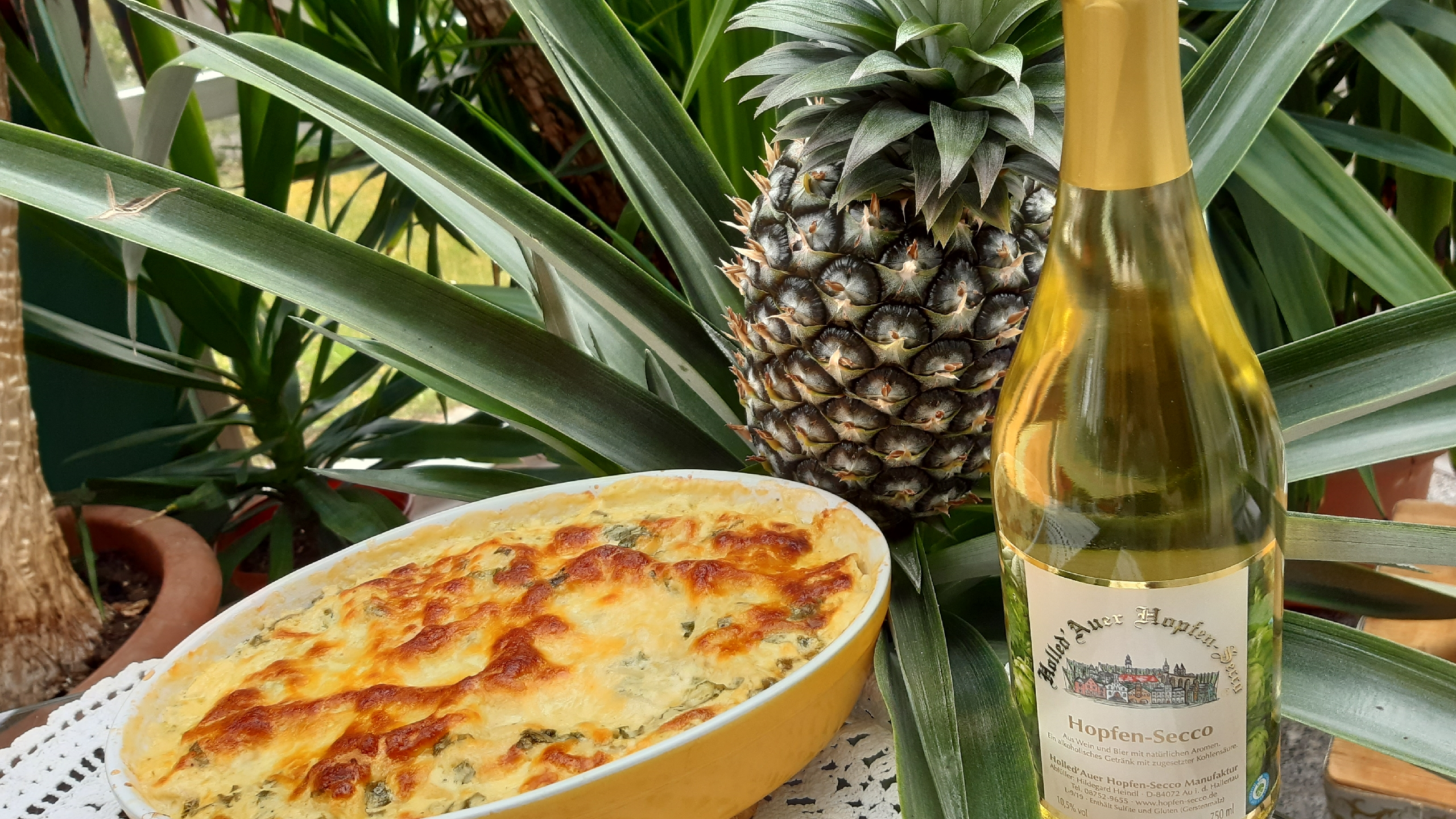 Ananas Lasagne mit Hopfen-Secco