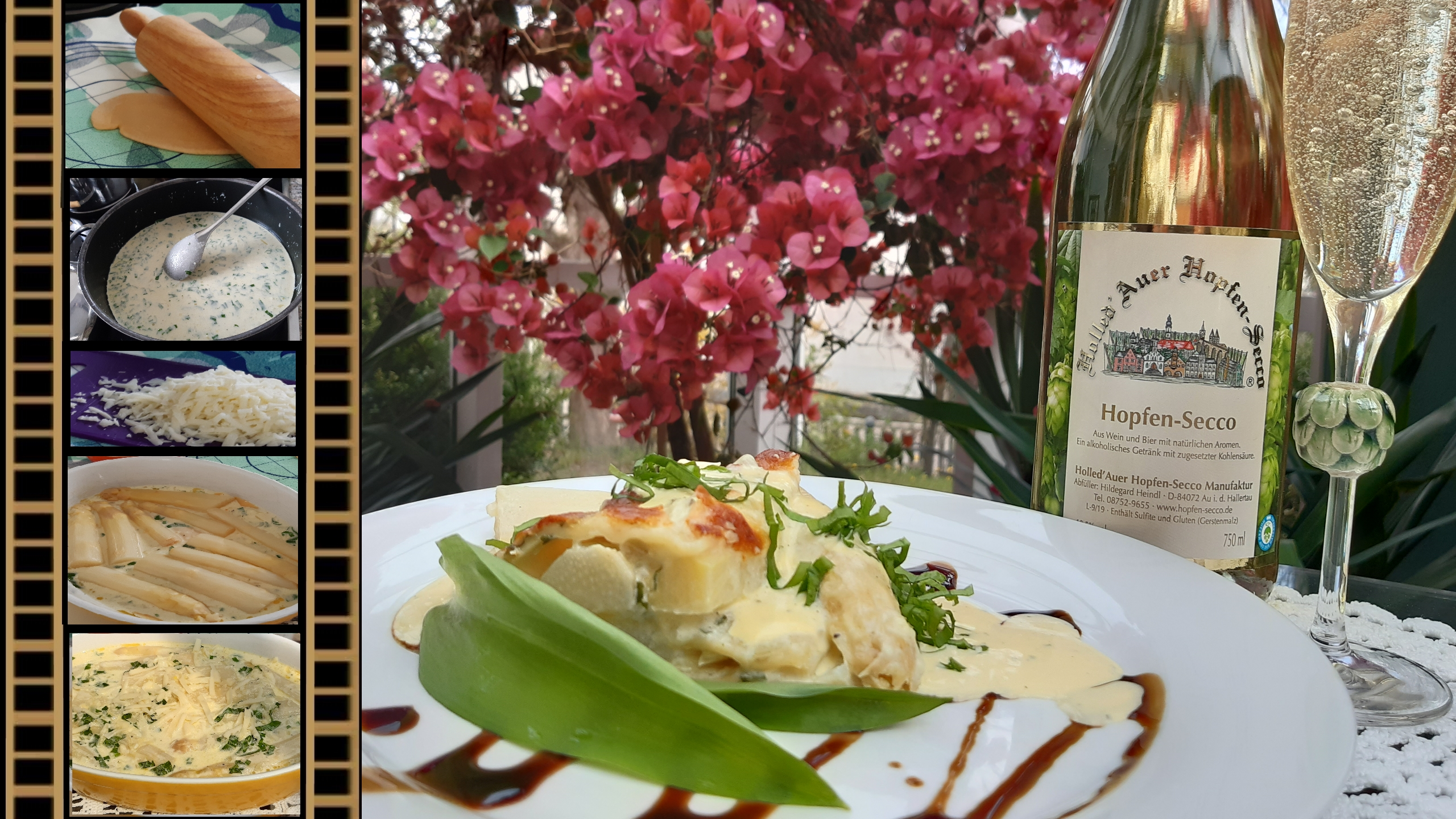Spargel Lasagne mit Hopfen-Secco